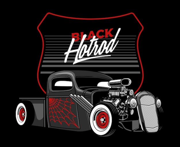 Black hotrod car