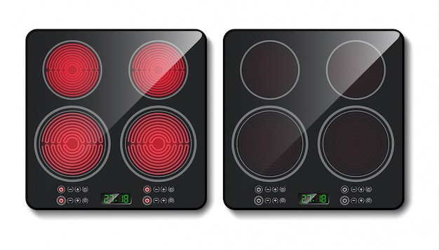 Black induction cooktop or glass-ceramic cooking panel