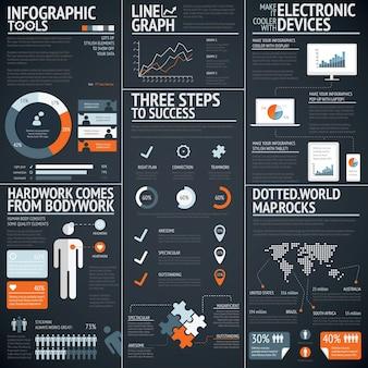 Black infographics business vector elements data visualization