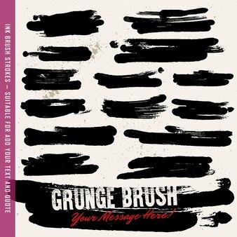 Black ink brush strokes, brushes, lines set. dirty artistic design elements