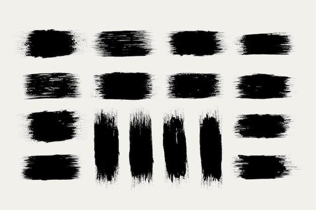 Black ink brush strokes collection