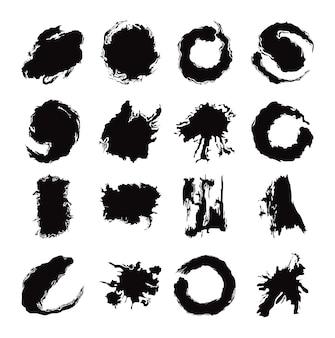 검정 잉크 브러시 스트로크 창조적 인 추상 설정된 아이콘