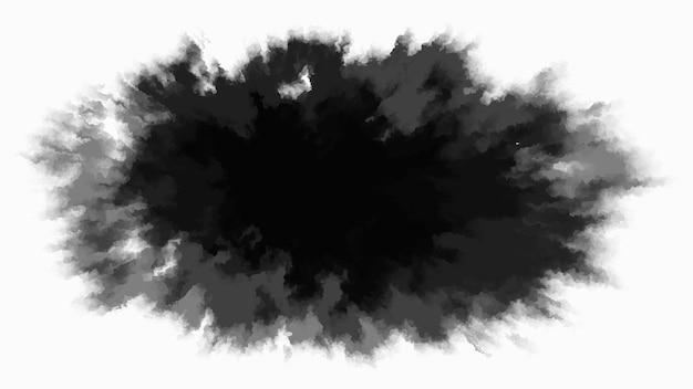 흰색 바탕에 검정 잉크 드롭입니다. 둥글고 들쭉날쭉한 잉크 반점이 중앙에서 천천히 퍼집니다. 어두운 곳에서 밝은 곳으로 그라데이션 수채화 전환. 얼룩 벡터 일러스트 레이 션.