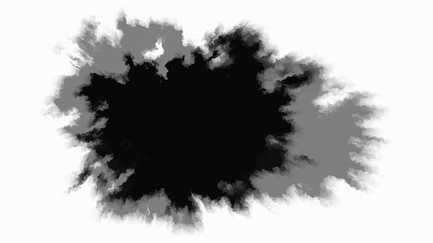 흰색 배경에 검정 잉크 방울 둥근 비정형 잉크 반점이 중앙에서 천천히 퍼집니다.