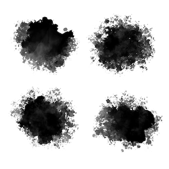 Black ink drops watercolor abstract splatters design