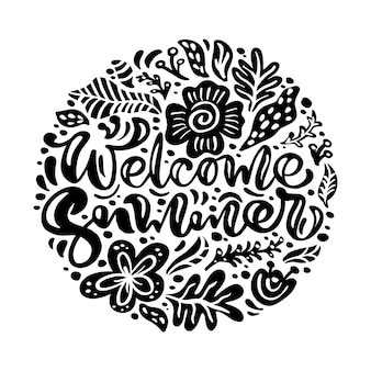 Black ink flower vector greeting card with text welcome summer