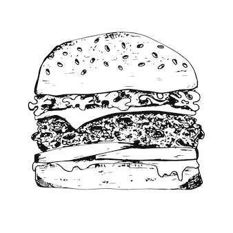 Black ink pen outline detailed hamburger icon