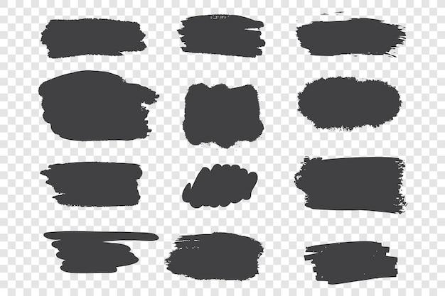 Black ink strokes set