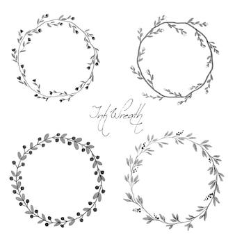 Black ink style floral wreath frame