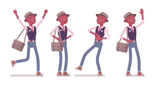 帽子、眼鏡を身に着けている黒のインテリジェントなスマートカジュアルな肯定的な男。スリムでファッショナブルなエレガントな男の子。メッセンジャーバッグに感情、気分、幸せ、笑いを込めて。スタイル漫画イラスト