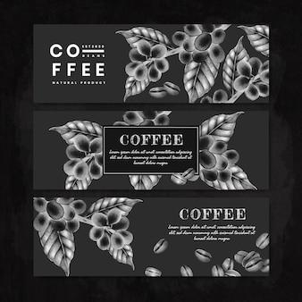 Black international coffee day banner set