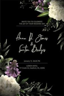 검은 초대장 템플릿, 수채화 꽃 모서리, 모란 꽃과 낮은 키에 그려진 잎, 손으로 그린 수채화 그림.