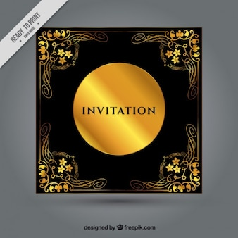 金花の飾りと黒の招待状