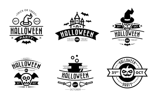 Black isolated halloween badges
