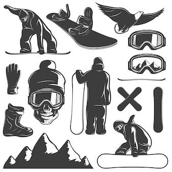 Черный изолированные значок сноуборд набор оборудования и сноубордист векторная иллюстрация