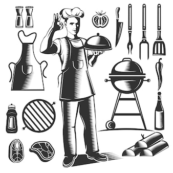 Black isolated vintage bbq element set with chefs figure and his dishes