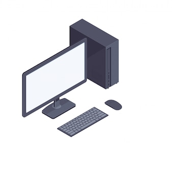 Black isometric desktop computer isolated on white background.