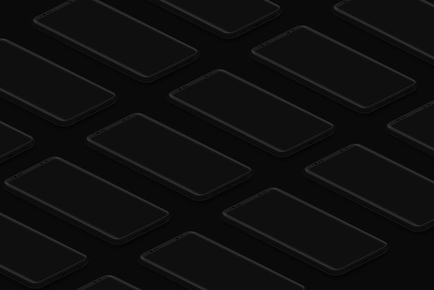 Ui 인터페이스를 삽입하기 위한 검은색 아이소메트릭 현실적인 스마트폰 그리드 어두운 전화 템플릿 또는