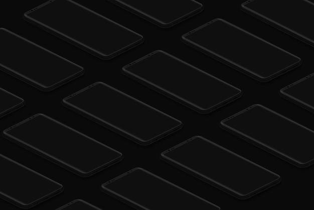 Black isometric realistic smartphones grid dark phones template for inserting ui interface or
