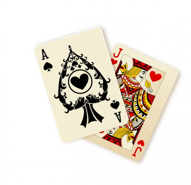 Black jack playing cards combination