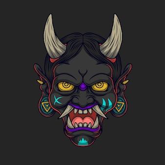 Иллюстрация черного японского демона