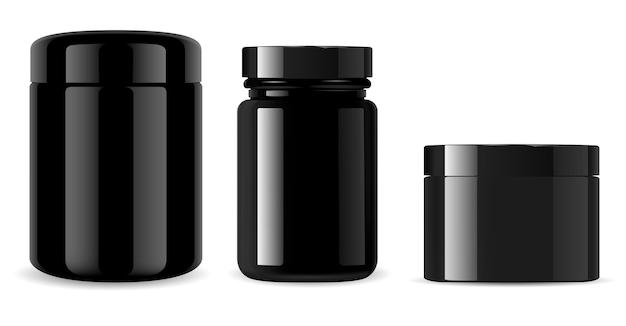 검은 항아리. 광택있는 까만 유리제 화장 용 병. 배경에 고립 된 광택 플라스틱 컨테이너입니다. 알약 병, 포장, 비타민 정제 약물을 보충하십시오. 크림 주석 템플릿