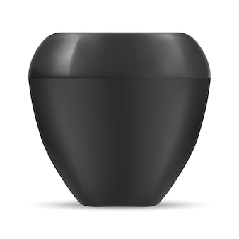 Black jar. cosmetic cream container. plastic blank