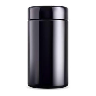 Black jar mock up. black glass bottle, supplement tin. glossy plastic sport packaging, vector tea container. mens cosmetic beauty package, body cream, salt or scrub