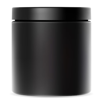 Black jar. plastic container for cream. cosmetic packaging mockup with glossy lid for whey protein powder or premium sport supplement. cylinder tube package for bodybuilding vitamin or shake