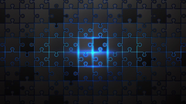 青いネオンの背景に黒いジグソーパズル