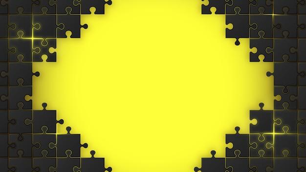 黄色の背景に黒いジグソーパズル