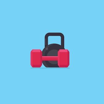 Black kettlebell and red dumbell
