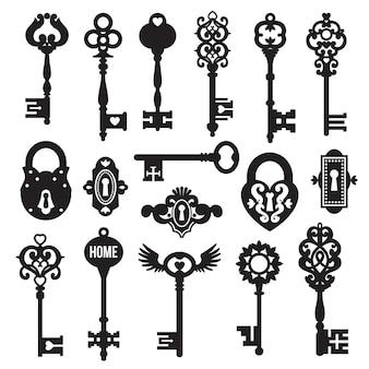 Набор черных ключей и замков