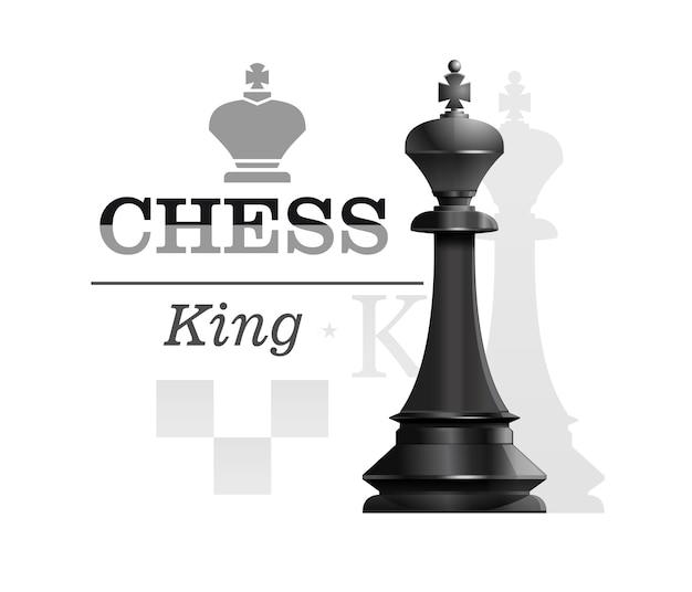 チェス盤のシルエットの背景に黒王。チェスのコンセプトデザイン。図