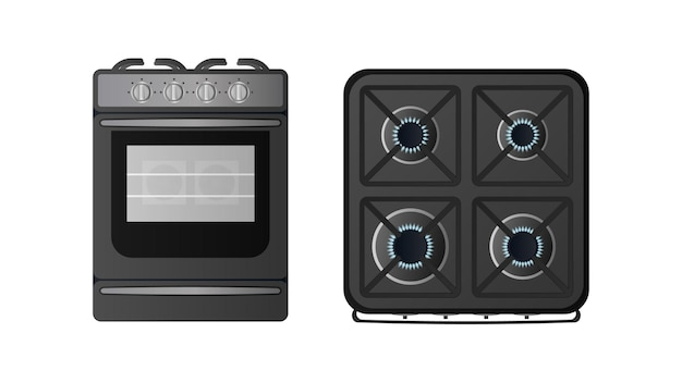 上面図の黒いキッチンストーブ。ガスストーブが含まれています。リアルなスタイルのキッチン用のモダンなオーブン。孤立。ベクター。