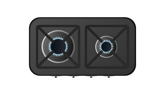 Black kitchen stove with top view. included gas stove. modern oven for the kitchen in a realistic style. isolated.