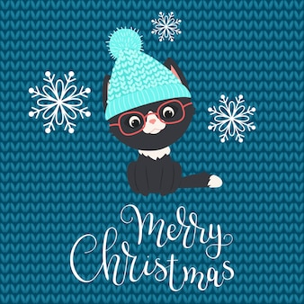 Black kitten in winter hat and glasses with snowflakes on knitted background
