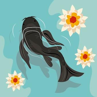 Черная рыба кои плавает