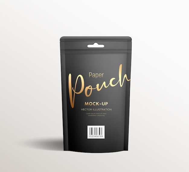 Black kraft paper pouch bags, front view packaging mock up template design, on gray background