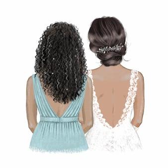 black ladies bride and bridesmaid. hand drawn illustration.