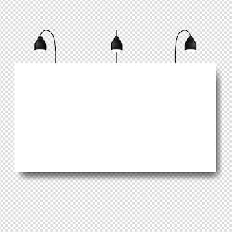 バナーの透明な背景を持つ黒いランプ
