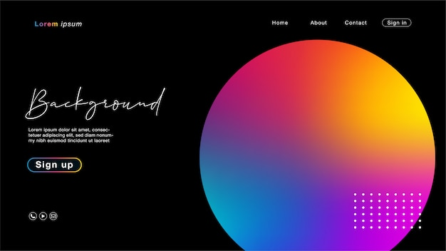 Black landing page template with gradient circle