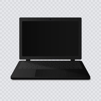 Black laptop with blank screen isolated on transparent background