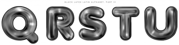 Black latex inflated alphabet symbols, isolated letters q-r-s-t-u