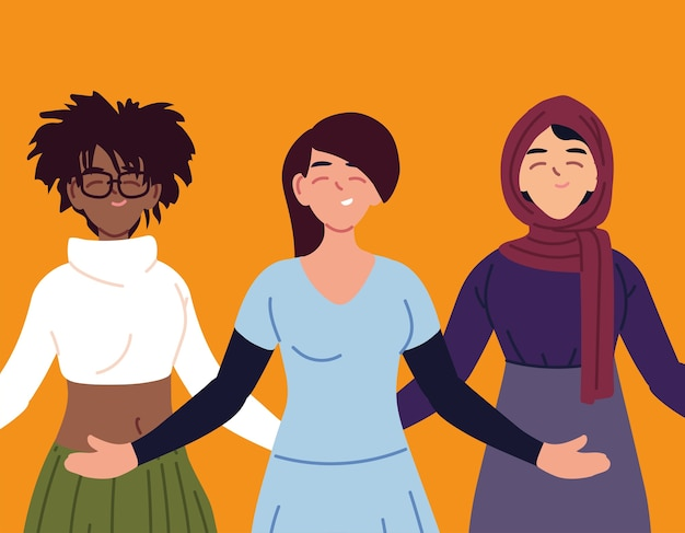 黒のラテンとイスラム教徒の女性漫画デザイン