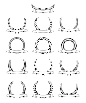 Black laurel wreath with ribbons and text space set