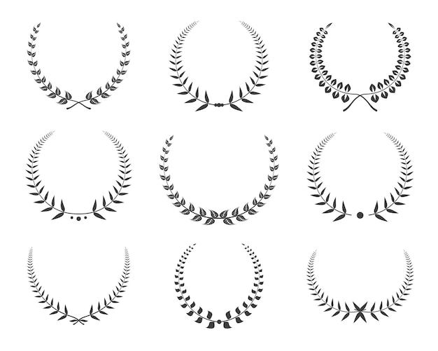 Black laurel wreaths icons set.
