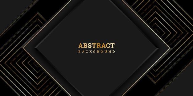 金色の正方形と紙カットスタイルの黒のレイヤード背景