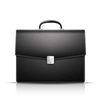 Черный кожаный портфель изолирован
