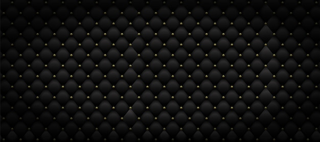 Black leather pattern with golden metal. luxury background.
